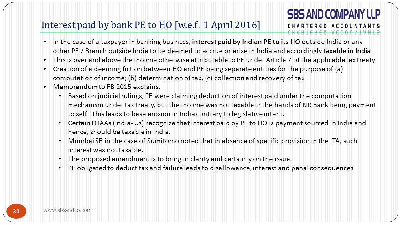 Interest paid by bank PE to HO [w.e.f . 1 April 2016]